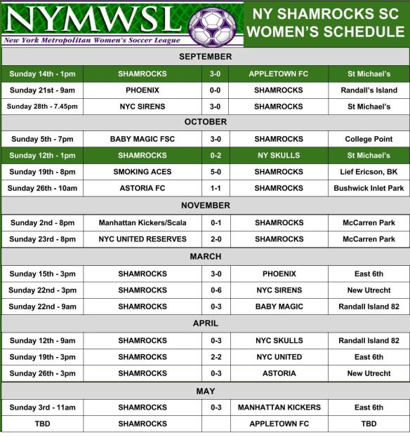 ROCKS womens schedule
