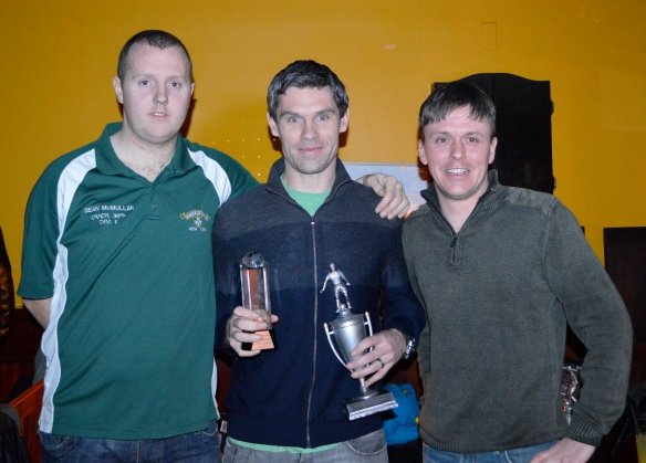 Mike Bishop is presented with the Over 30s player of the year award for the 2011-12 season by coach Paddy Mc Carry and assistant coach Sean Mc Mullan at the Courtyard Bar on Sunday night. Pic: John Riordan