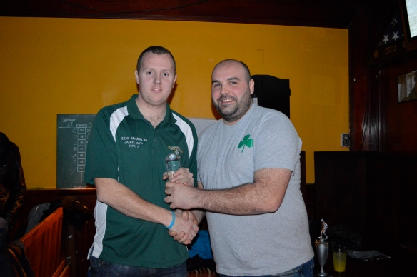 Sean Mc Mullan is presented with the player of the year award for the 2011-12 season by reserves team manager Robbie O'Neill at the Courtyard Bar on Sunday night.