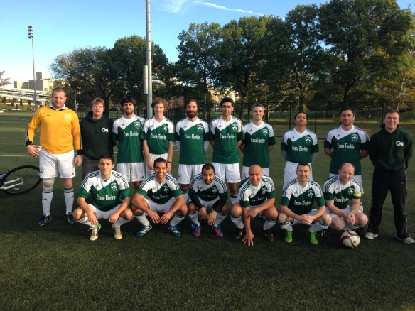 The Shamrocks Over 30s pictured before their 3-2 victory over Gottschee at Randall's Island on Sunday.