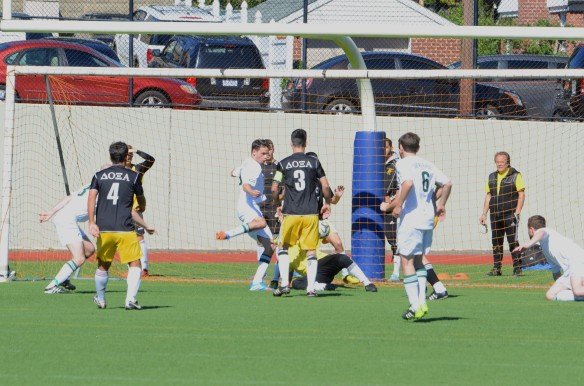 Leandro Fregossi scores the opening goal of the 3-1 win against Doxa Reserves on Sunday. Picture: Dinos Avlonitis
