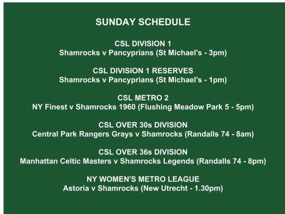 SHAMROCKS sunday schedule graphic