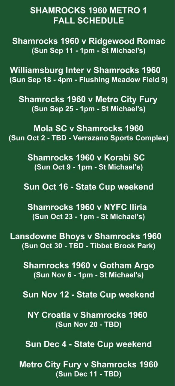 shamrocks 1960 schedule