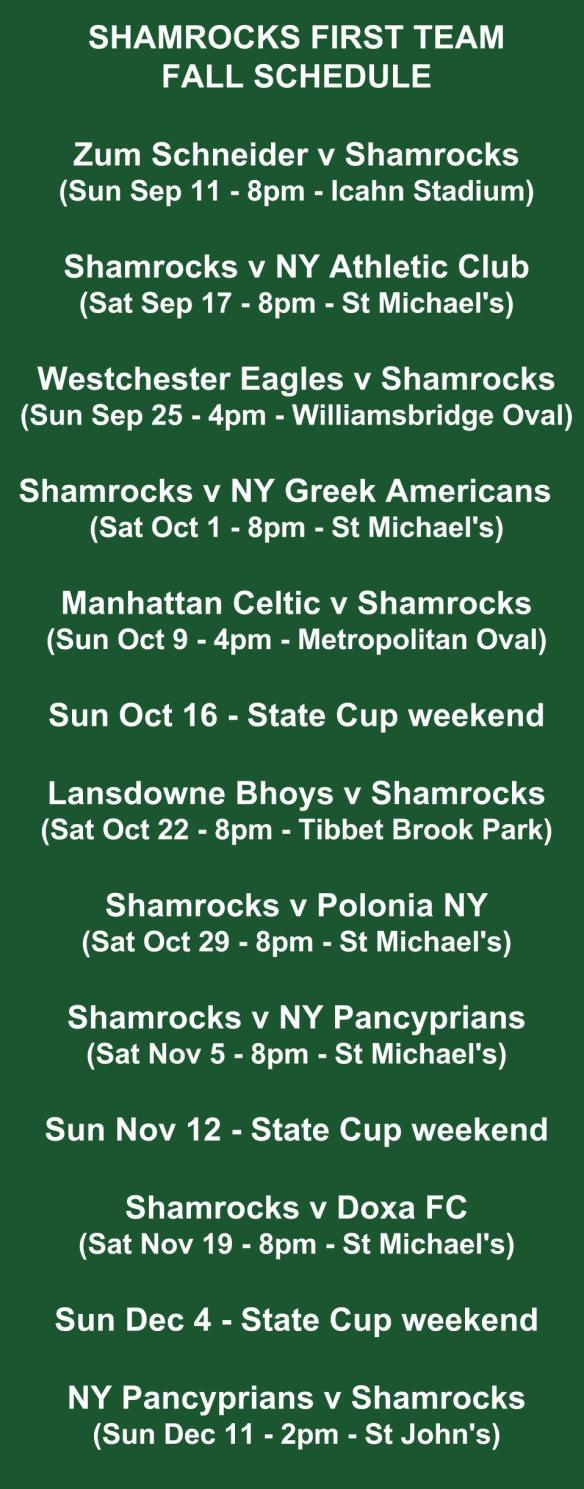 shamrocks first team schedule