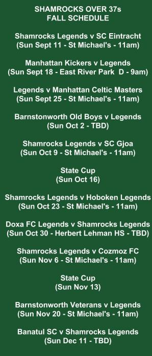 shamrocks legends schedule