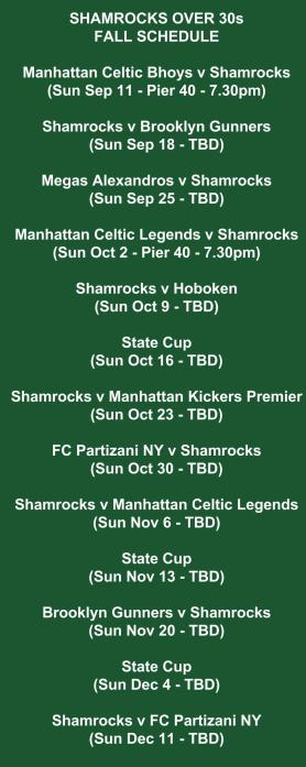 shamrocks over 30s schedule