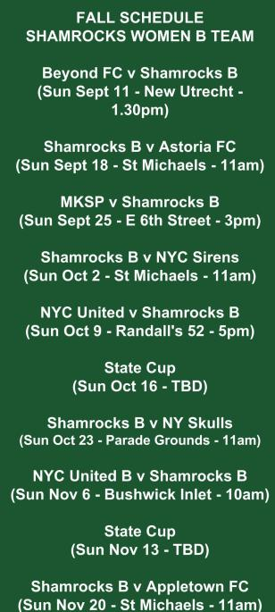 shamrocks women's b team schedule