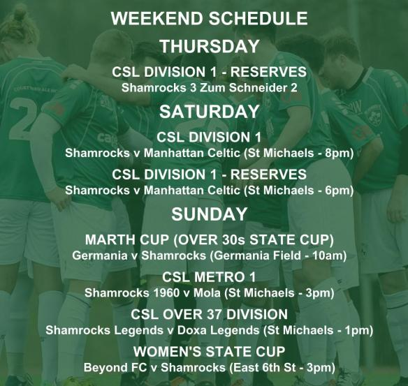 SHAMROCKS sunday schedule graphic